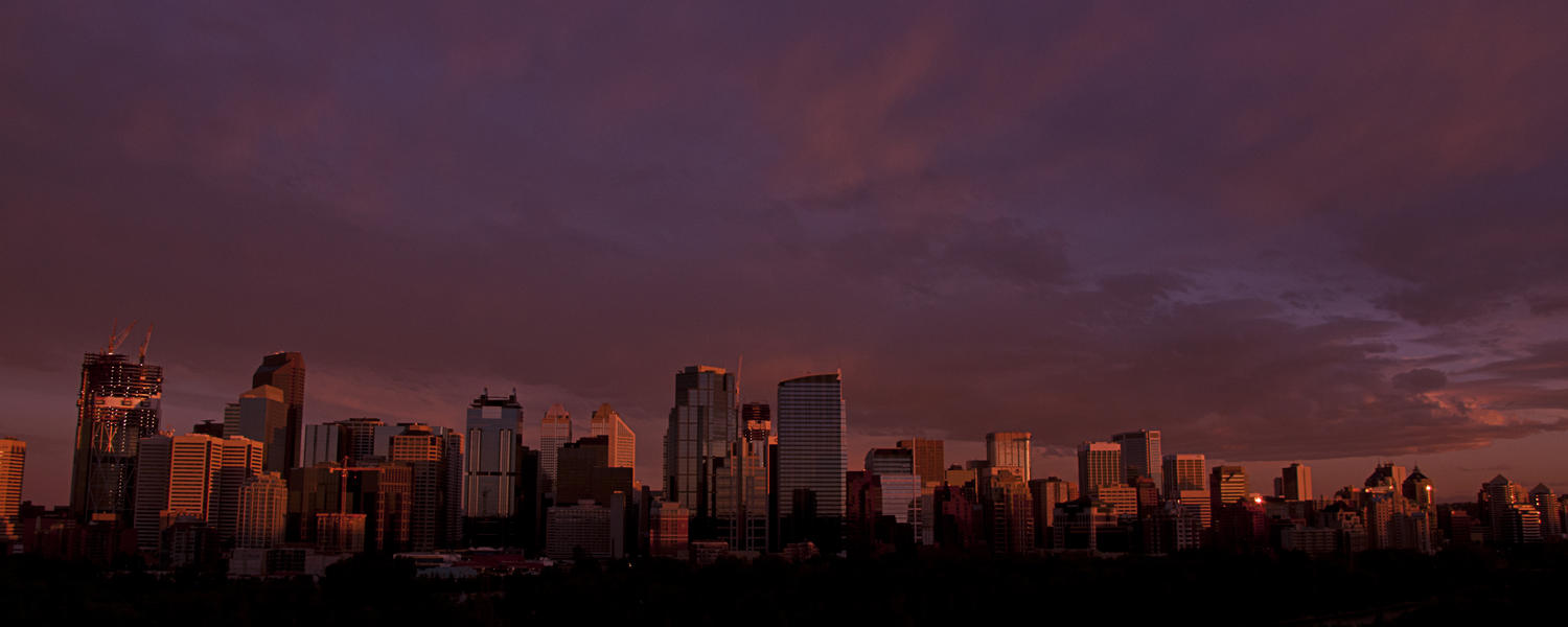 Sunset over the city of Calgary